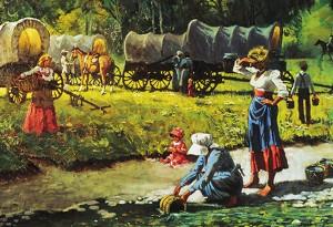 pionnières mormones puisant l'eau