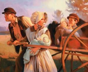 pionniers-charette-a-bras, pionnières mormones