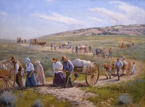 pionniers-mormons-charrette-a-bras, pionnières mormones