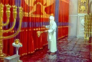 grand-prêtre devant le voile du temple