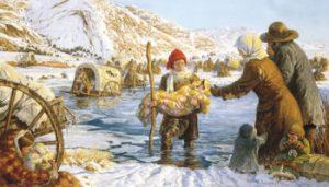 pionniers traversant une rivière en hiver