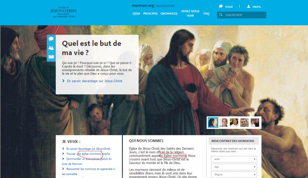 capture d'écran du site mormon.org site officiel de l'Eglise qui emploie lui même le terme d'Eglise mormone