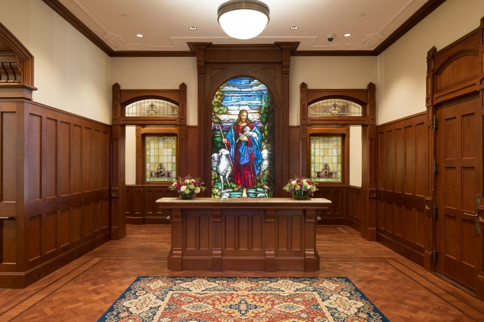 vitraux représentant Jésus: vitrail dans le temple de Provo City