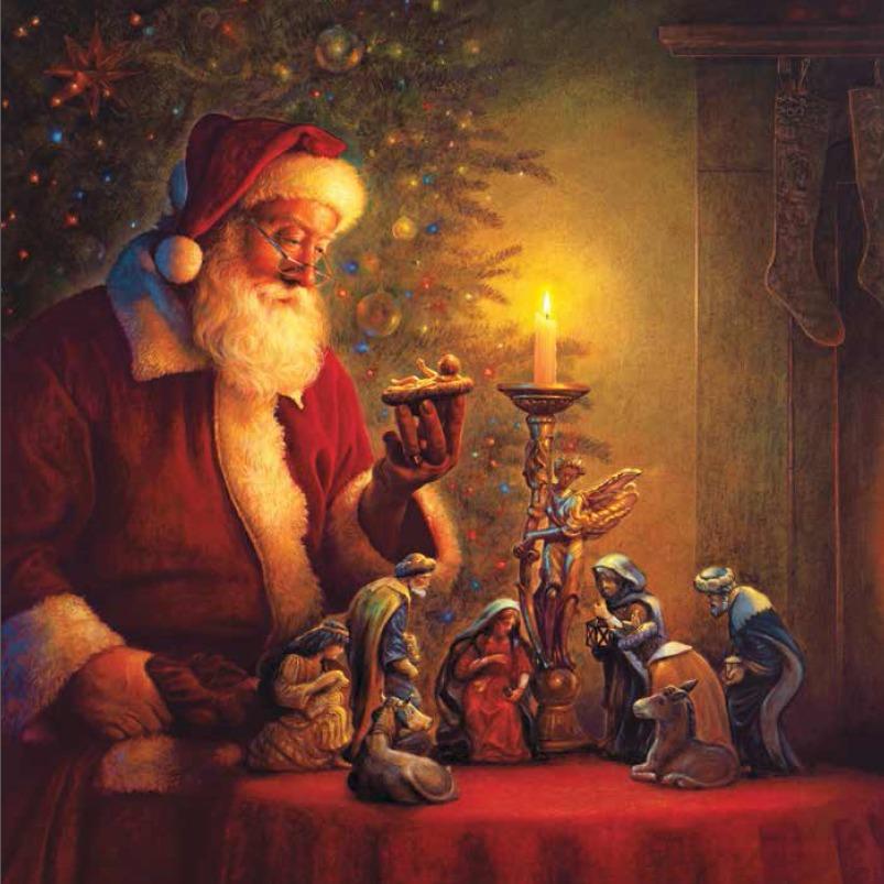 Père Noël regardant le santon représentant le bébé Jésus