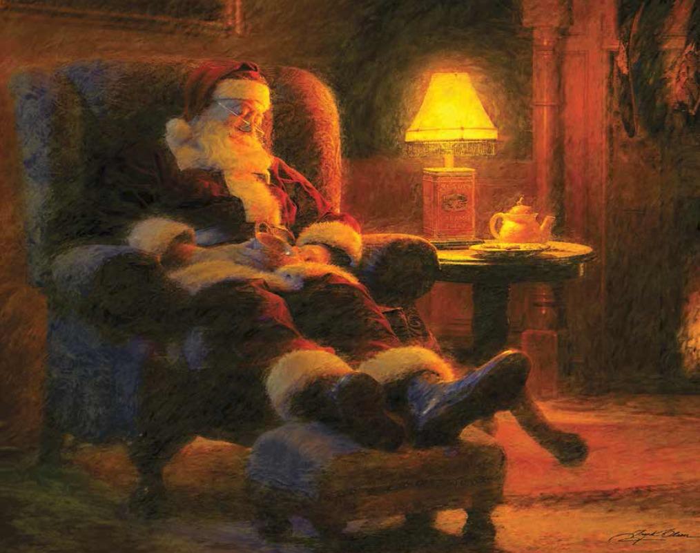 Le Père Noël dormant dans son fauteuil