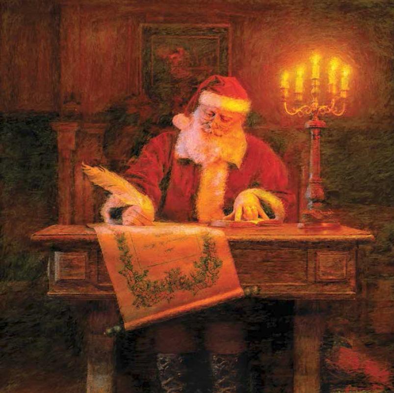 Père Noël écrivant sur un parchemin