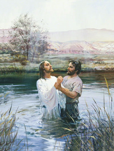 Jean-Baptiste et jésus dans le Jourdain: baptême de Jésus