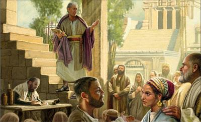 Néphi prêche au temple