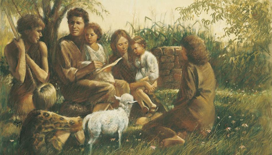 Adam et Eve après la Chute, enseignant l'Evangile à leurs enfants