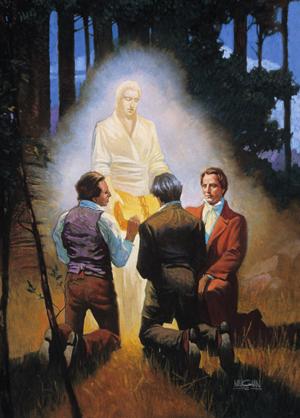 les trois témoins avec l'ange Moroni et Joseph Smith