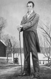 Hyrum Smith debout avec sa canne