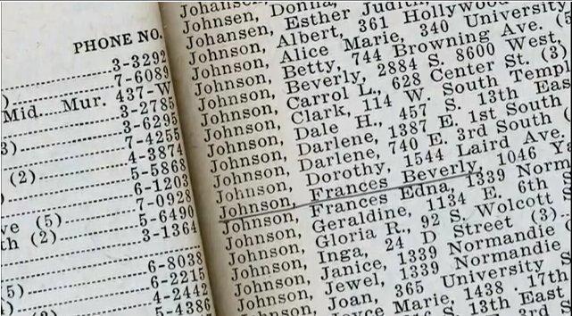 le nom de soeur Monson dans l'annuaire de Thomas S. Monson