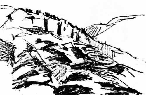 dessin de la montagne avec les lettres géantes B Y U