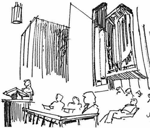 lors d'une conférence dans une chapelle