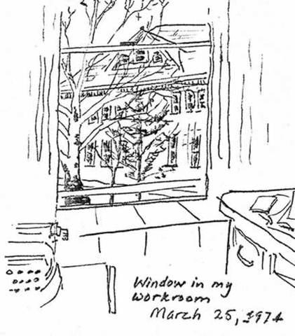 vue depuis la fenêtre de son bureau