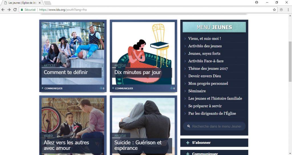 menu d'accès aux pages dédiées aux jeunes sur lds.org