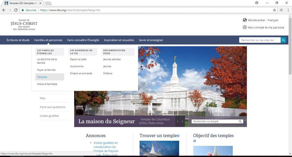 trouver un temple sur lds.org