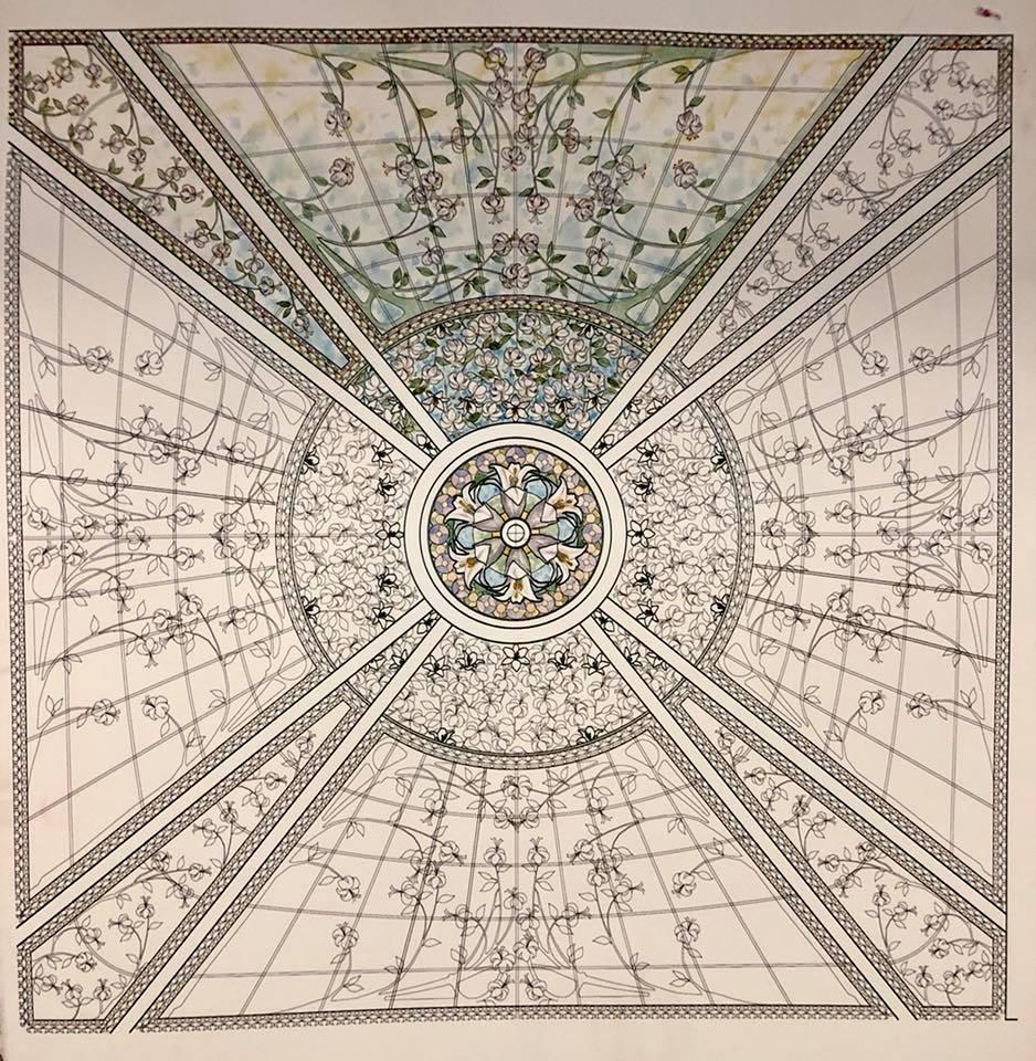 dessin préparatoire pour le vitrail du puits de lumière du temple de Paris