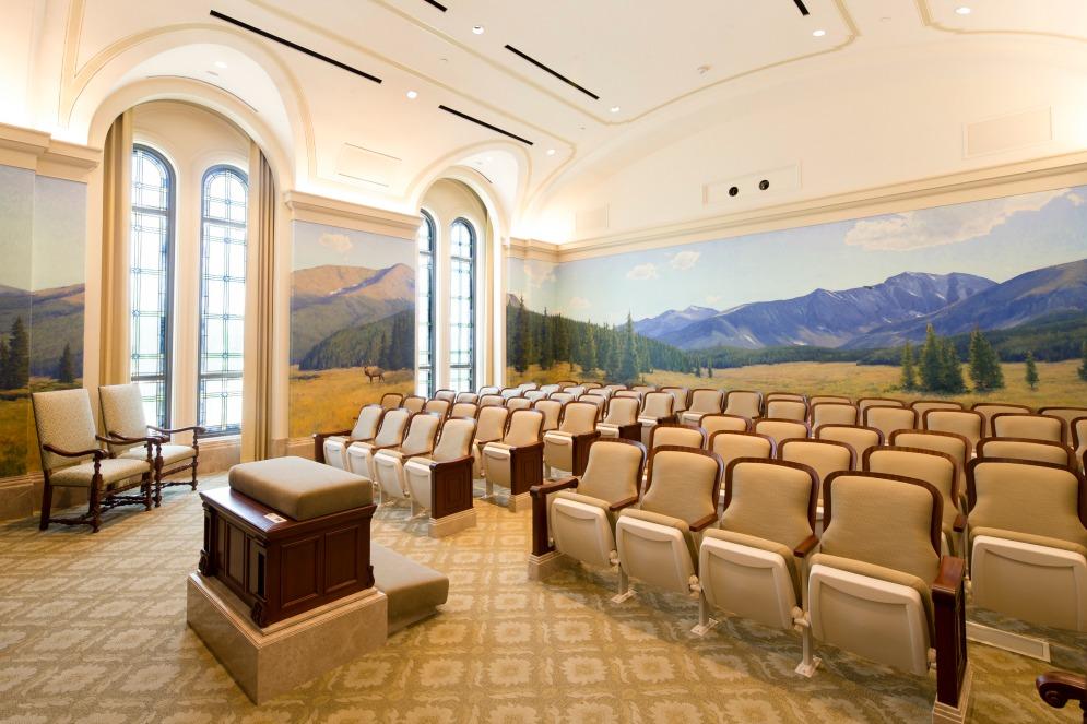 une salle de dotation au temple de Fort Collins