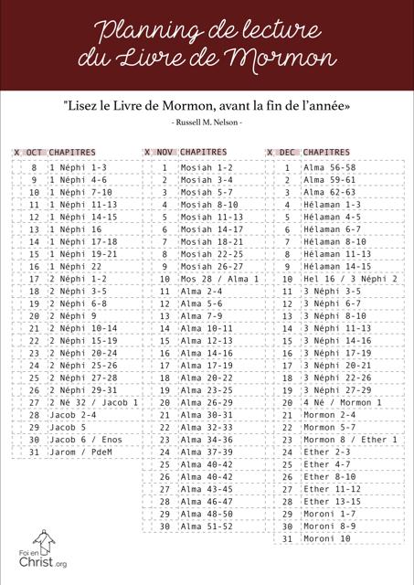 calendrier de lecture du Livre de Mormon, annonces de la conférence générale d'octobre 2018