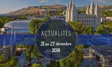 Nouvelles de l'Eglise du 21 au 27 décembre 2018