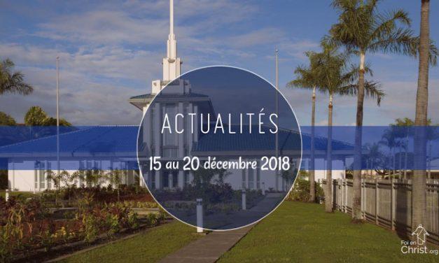 Actualités de l'Eglise du 15 au 20 décembre 2018