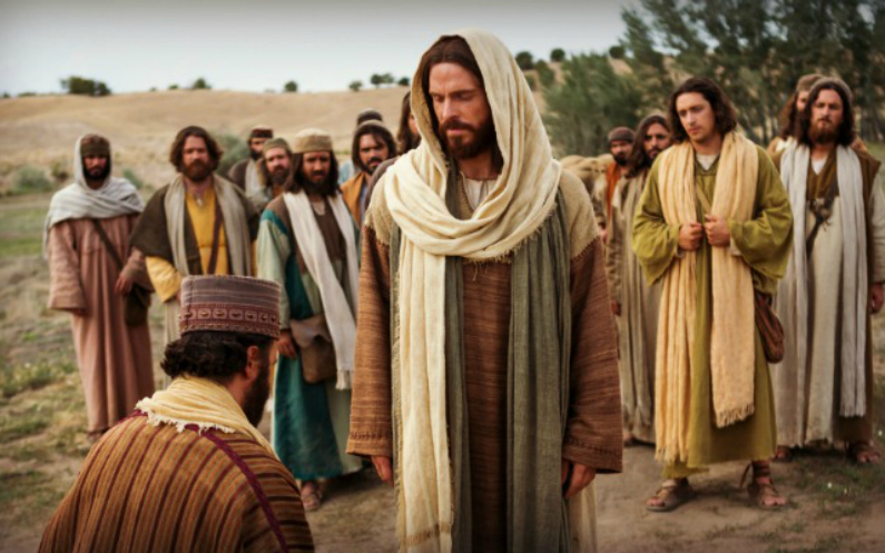 homme agenouillé en face du Christ - se sentir seul à l'église